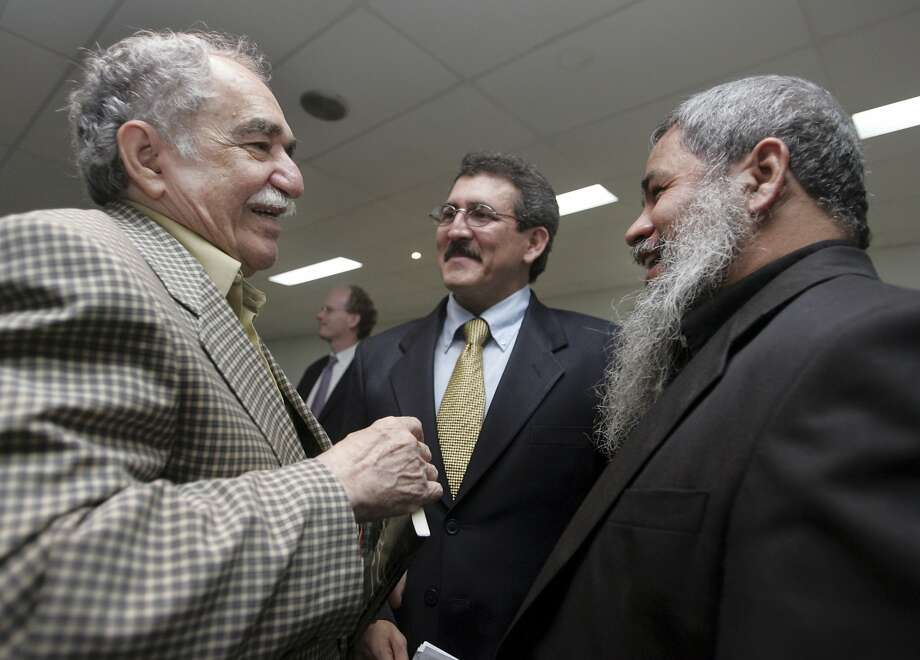 "Colombian Nobel Prize laureate Gabriel Garcia Marquez (L) talks with Antonio Garcia (center), second in command of the 5,000-strong Colombian National Liberation Army (ELN) and Francisco Galan, commissioner of the ELN, after a meeting in Havana, in this December 16, 2005 file photo. Garcia Marquez, the Colombian author whose beguiling stories of love and longing brought Latin America to life for millions of readers and put magical realism on the literary map, died on April 17, 2014. He was 87. Known affectionately to friends and fans as ""Gabo"", he is arguably Latin America's best-known author and his books have sold in the tens of millions. Photo: Claudia Daut, Reuters"