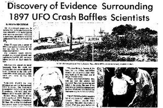 A newspaper clipping from a neighboring city covers the 1897 Aurora, Texas UFO incident.