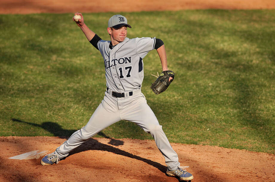 Sean McEwan was the relieving pitcher for Wilton during the Warriors' baseball game against Westhill at Westhill High School in Stamford, Conn., on Wednesday, April 16, 2014. Westhill won, 9-0. Photo: Jason Rearick / Stamford Advocate
