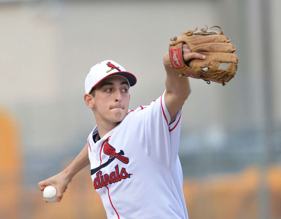 Greenwich pitcher JT Hintzen in action during the high school baseball game between Greenwich High School and New Canaan High School at Greenwich, Friday afternoon, April 11, 2014. Photo: Bob Luckey / Greenwich Time
