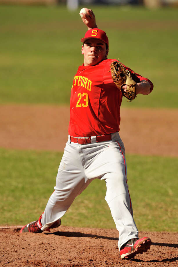 Brandon Russo was the starting pitcher for Stratford during the Red Devils' baseball game against Trinity Catholic at Trinity Catholic High School in Stamford, Conn., on Wednesday, April 9, 2014. Trinity Catholic won, 4-2. Photo: Jason Rearick / Stamford Advocate