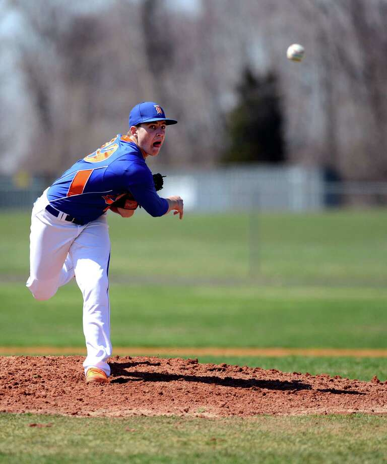 Danbury's Daniel Clancy pitches to Trumbull during their game Thursday, April 17, 2014, at Trumbull High in Trumbull, Conn. Photo: Autumn Driscoll / Connecticut Post