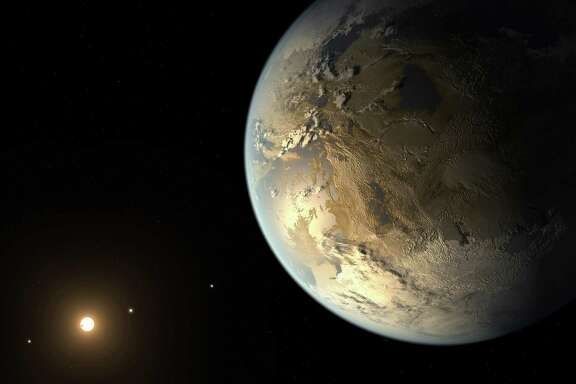 NASA provided this artist's rendering of an Earth-sized planet dubbed Kepler-186f. Astronomers say the planet may hold water on its surface.
