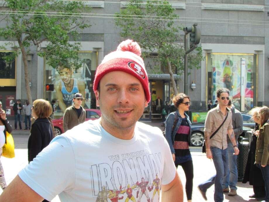 Union Square, April 13, 2014; Tony's rakish tilt to  his 49ers hat Photo: Will Hearst