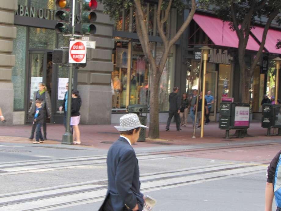"Union Square, April 13, , 2014; the brim defines ""jaunty"" Photo: Will Hearst"