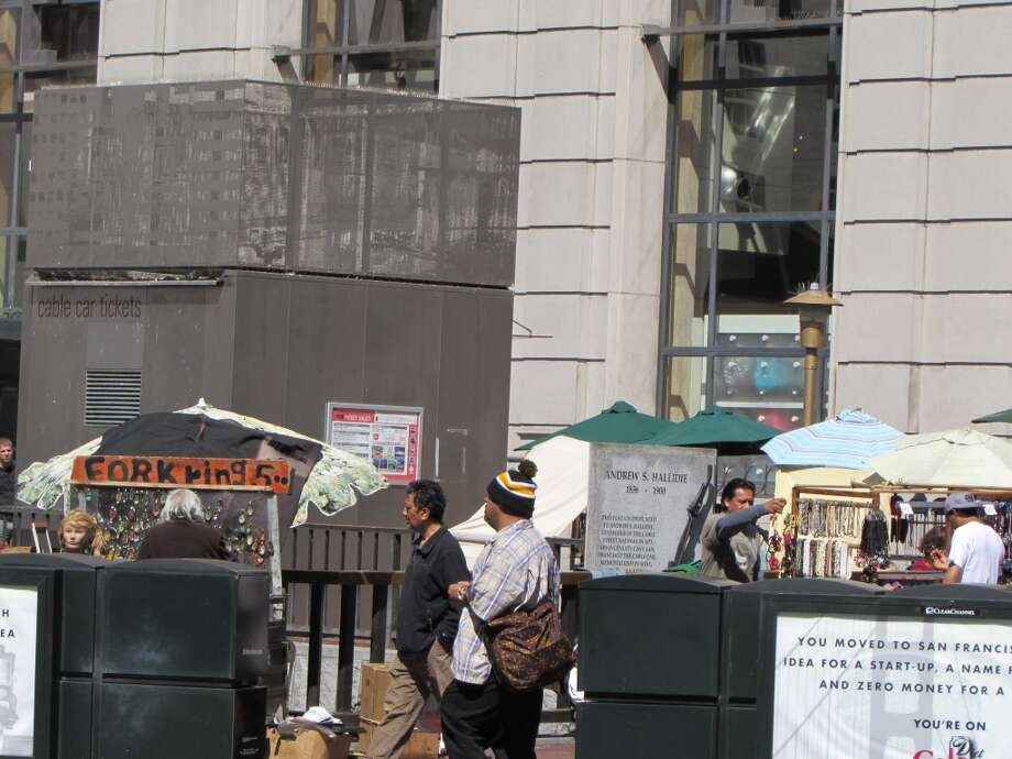 Union Square, April 13, 2014; ski hat is always good, even away from the slopes and out of season Photo: Will Hearst