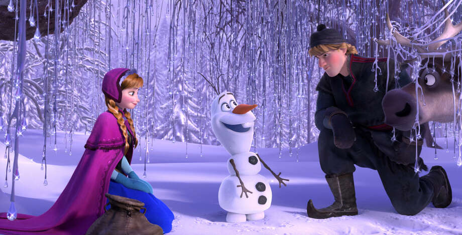 """Frozen""  characters (from left)  Anna, Olaf and Kristoff pause before searching for Anna's sister Elsa, she of the $1,000 gown for which some parents would pay. Photo: Disney / Disney"