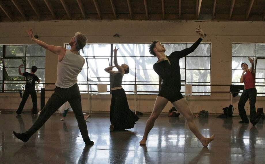 Wes Krukow (in black) rehearses with fellow dancers at the Smuin Ballet company's studio in San Francisco. Photo: Codi Mills, The Chronicle