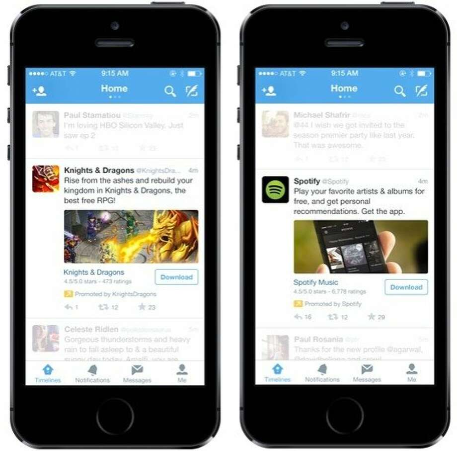 Example images of Twitter's new advertising product for their mobile app. Photo: Twitter