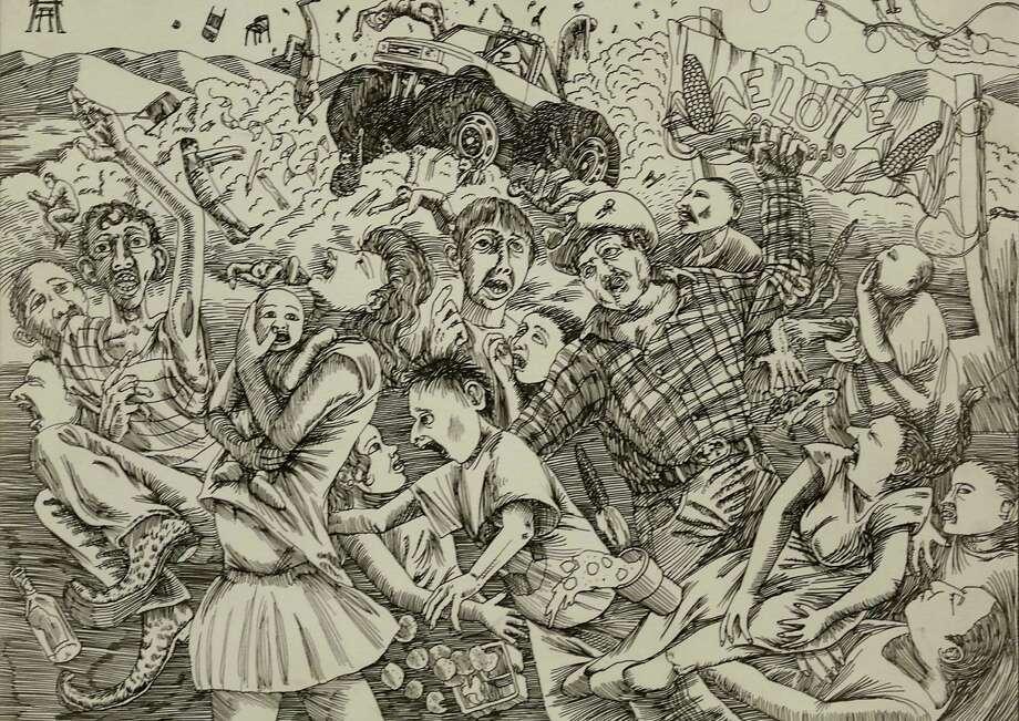 "One of artist Albert Alvarez's common themes — impending disaster — zooms through his drawing ""Monster Truck Loco."" Photo: Bob Owen / San Antonio Express-News / ©2013 San Antonio Express-News"