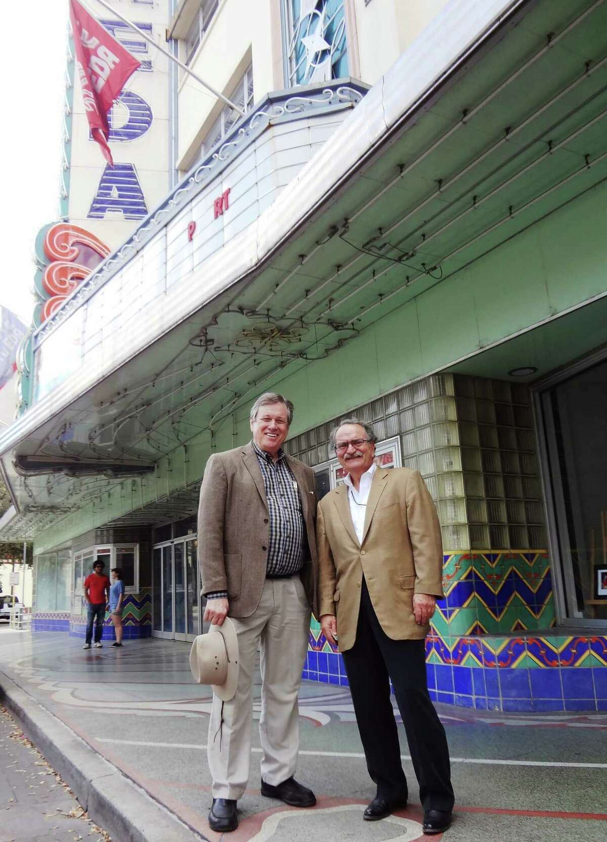 Architect Killis Almond (left) and marketing/advertising executive Bromley are working to modernize the 65-year-old theater.