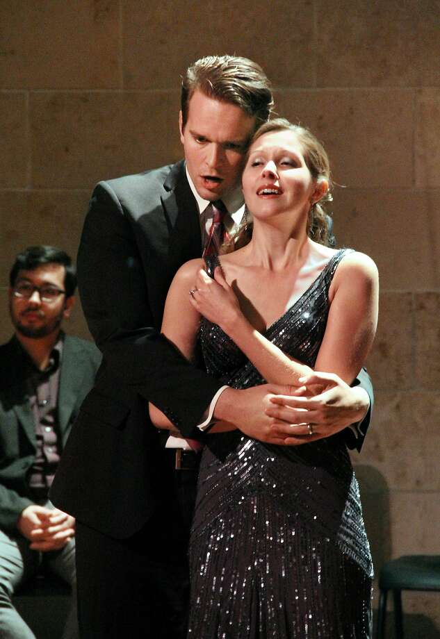 "Baritone Gabriel Pressier and soprano Rachel Schutz in Francis Poulenc's ""The Breasts of Tiresias"" by Opera Parallèle. Photo: Rick Gydesen"