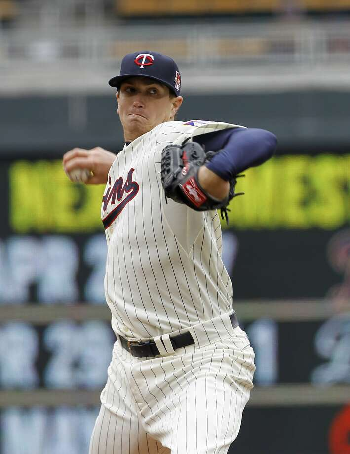 Minnesota Twins starting pitcher Kyle Gibson delivers to the Toronto Blue Jays during the third inning of the first baseball game of a doubleheader in Minneapolis, Thursday, April 17, 2014.  (AP Photo/Ann Heisenfelt) Photo: Ann Heisenfelt, Associated Press