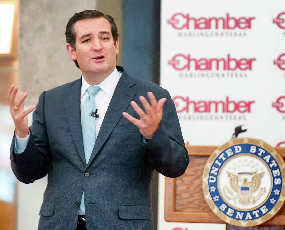 Senator Ted Cruz addresses the crowd at the Marine Military Academy in Harlingen, Texas, Thursday, April 17, 2014. The tea party favorite is frequently mentioned as a possible 2016 presidential hopeful. Some have criticized him, though, for visiting Iowa, which kicks off presidential voting, four times while visiting the Texas-Mexico border once before as senator. (AP Photo/Valley Morning Star, David Pike) (AP Photo/Valley Morning Star/David Pike)