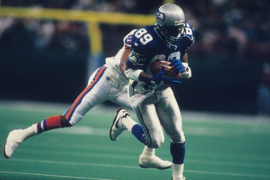 Brian Blades#89, 1988-1998  A career Seahawk, Blades lead the team in receiving yards in five of his 11 years playing pro football and also tallied 1,000 or more yards in five seasons. While the end of his career was marred by a murder trial, in which he was acquitted after successfully arguing his cousin's death was an accident, Blades remains one of the best receivers in Seahawks history. Photo: Joseph Patronite, Getty Images