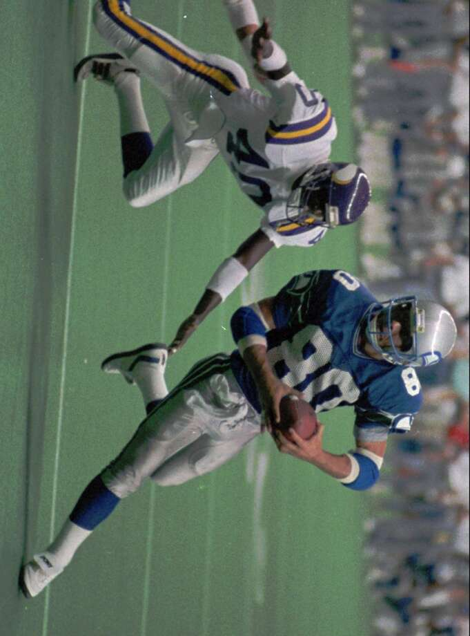 Steve Largent#80, 1976-1989  Often considered the best player in Seahawks history, Largent's Hall of Fame Career spanned 15 years all in Seattle. The seven-time Pro Bowler led the NFL in receiving yards in both 1979 (1,237 yards) and 1985 (1,287 yards), and was named All-Pro in '85 when he averaged 80.4 receiving yards per game. His 1,287 yards in '85 are still a single-season franchise record and he holds Seahawks career records for most total yards (13,396), pass receptions (819) and most games started (197). Photo: Gary Stewart, Associated Press