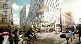 Or hey, don't wear a helmet at all. Don't close your window shades, either. That's the philosophy at 950-974 Market St. designed by Danish architect Bjarke Ingels. This image of the still-evolving project is from early 2014 and shows the perspective from Turk and Taylor streets.