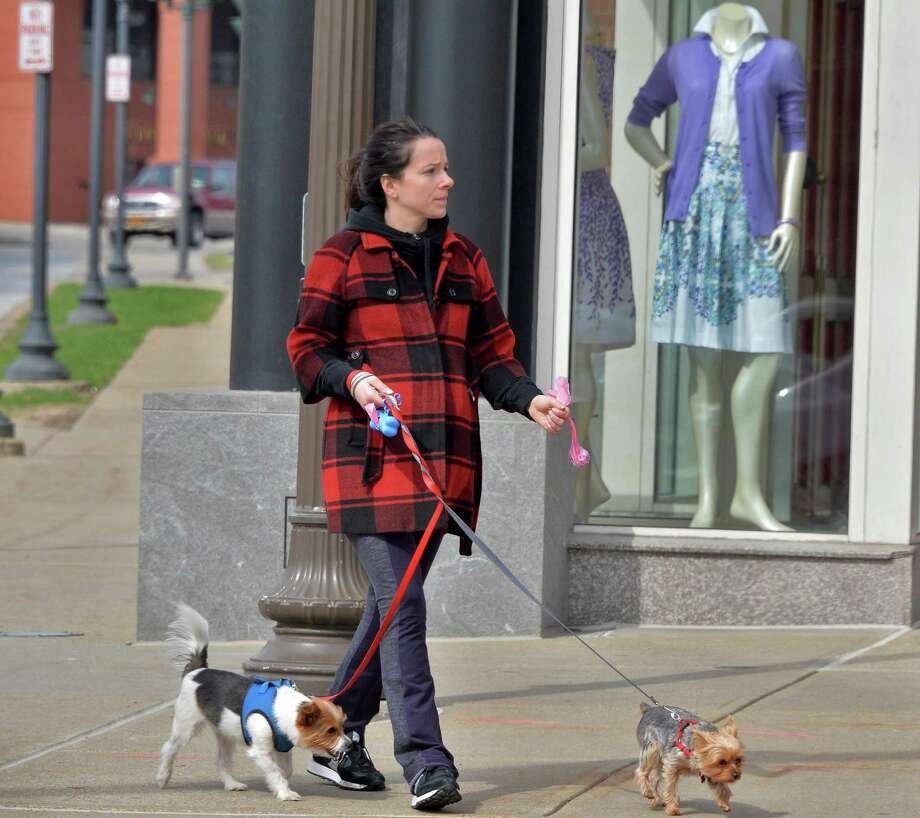Janelle Tavormina of Saratoga Springs walks her dogs Pumpernickel and Gimlet past shop windows along Broadway Thursday April 17, 2014, in Saratoga Springs, N.Y.  (John Carl D'Annibale / Times Union) Photo: John Carl D'Annibale