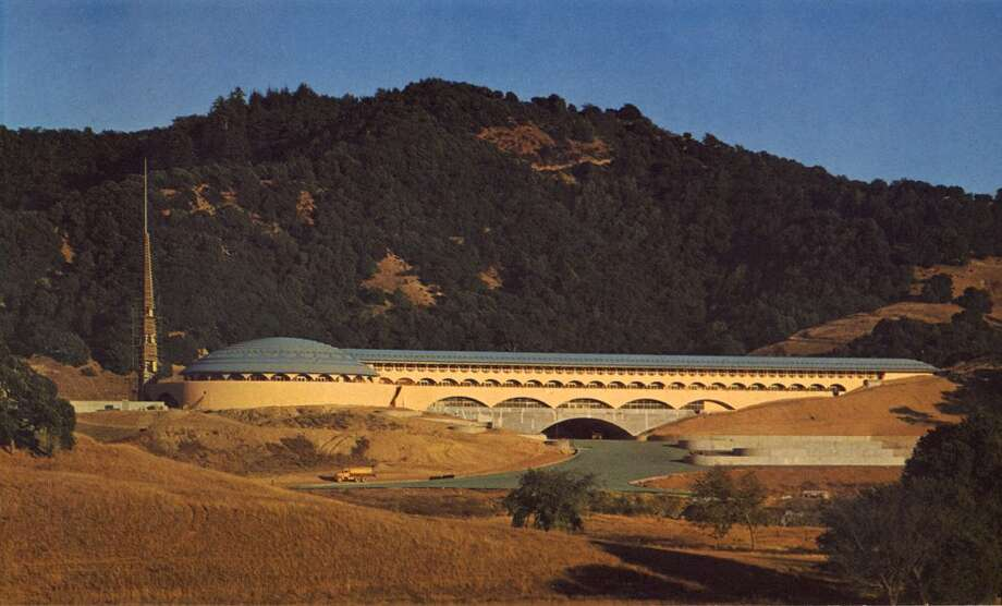 Frank Lloyd Wright's Marin County Civic Center -- sci-fi suburbia, one of his most acclaimed final works --  as it looked near the end of construction in 1962. Photo: Anne T. Kent California Room, Marin County Free Library, SEE SPECIAL INSTRUCTIONS / cacquaviva@marincounty.org