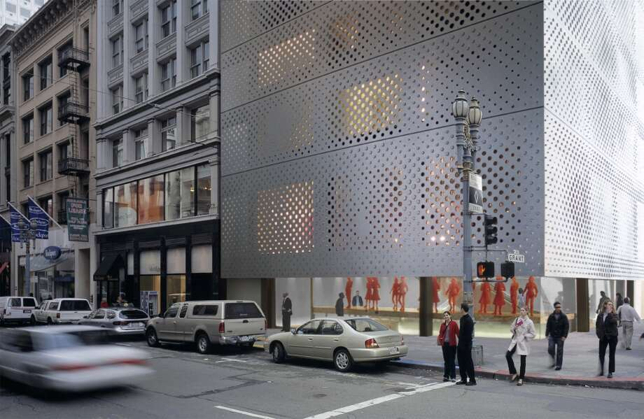 "With its skin of perforated bead-blasted steel, and a Union Square setting, Rem Koolhaas' brooding Prada boutique stirred debate in 2001 over what was or was not ""appropriate"" design for this part of the city. The Planning Commission approved it anyway -- but when the dot-com boom went bust, so did the plans. Photo: Prada, SFC"