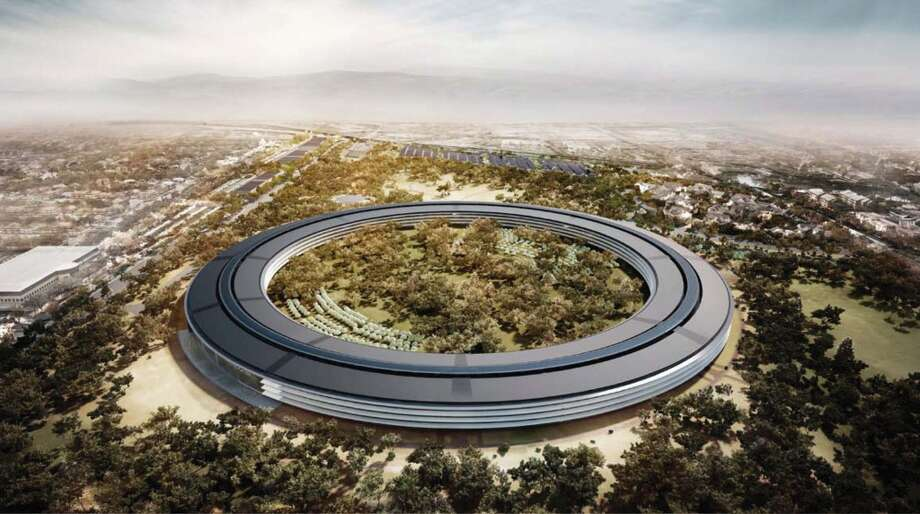 Outside San Francisco, Foster + Partners is the lead architect on the new Apple headquarters in Cupertino that will begin construction this year. It has been likened to a cross between a spaceship and a donut -- and was unveiled by Steve Jobs in his final public appearance before his death in 2011. Photo: Via Bloomberg