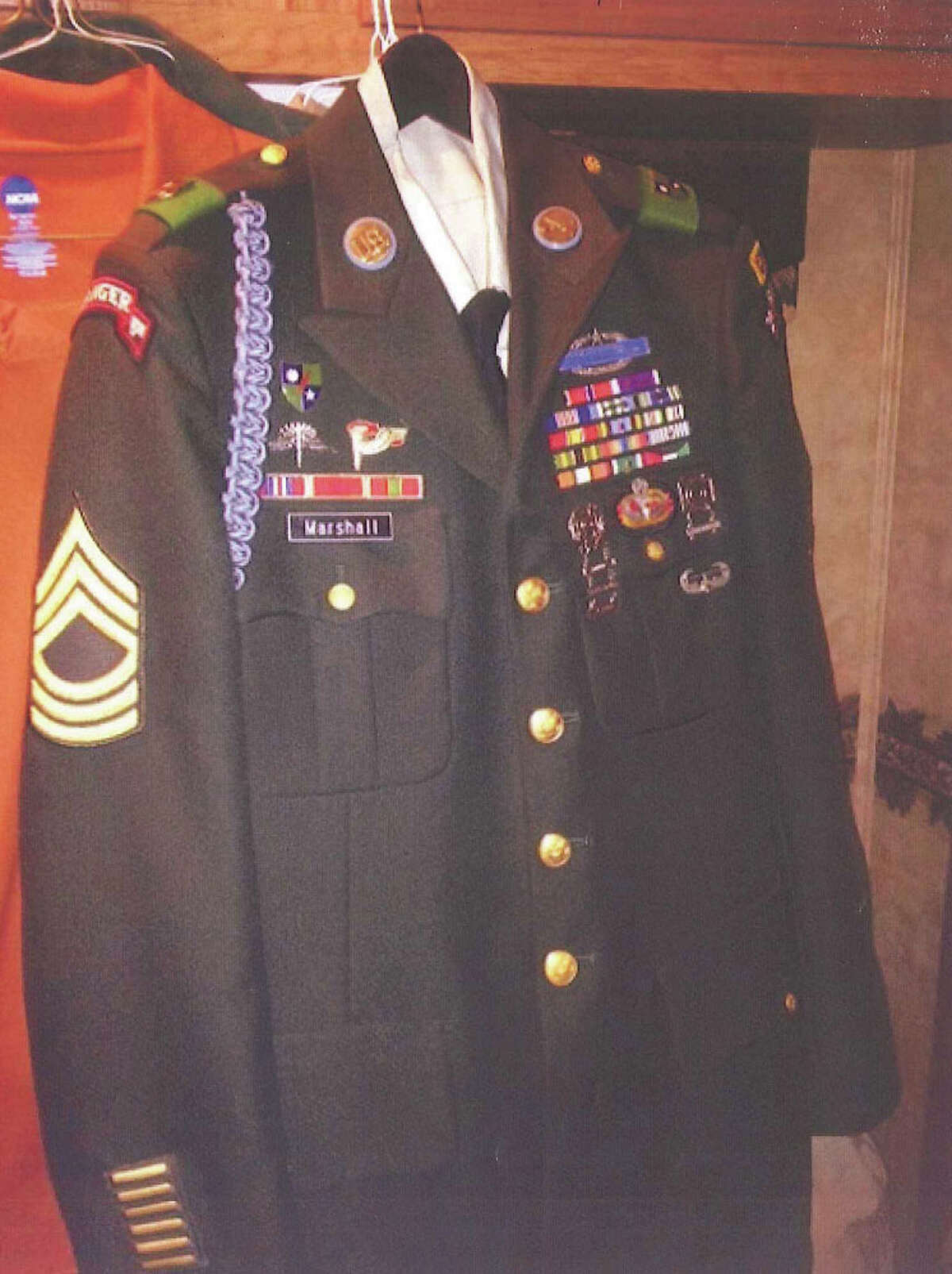 Photo of a uniform allegedly used by Daniel Lee Marshall, Jr. to portray himself as an Army Ranger, entered into evidence in a bond hearing held in the U.S. District Court in the Southern District of Texas on April 17.
