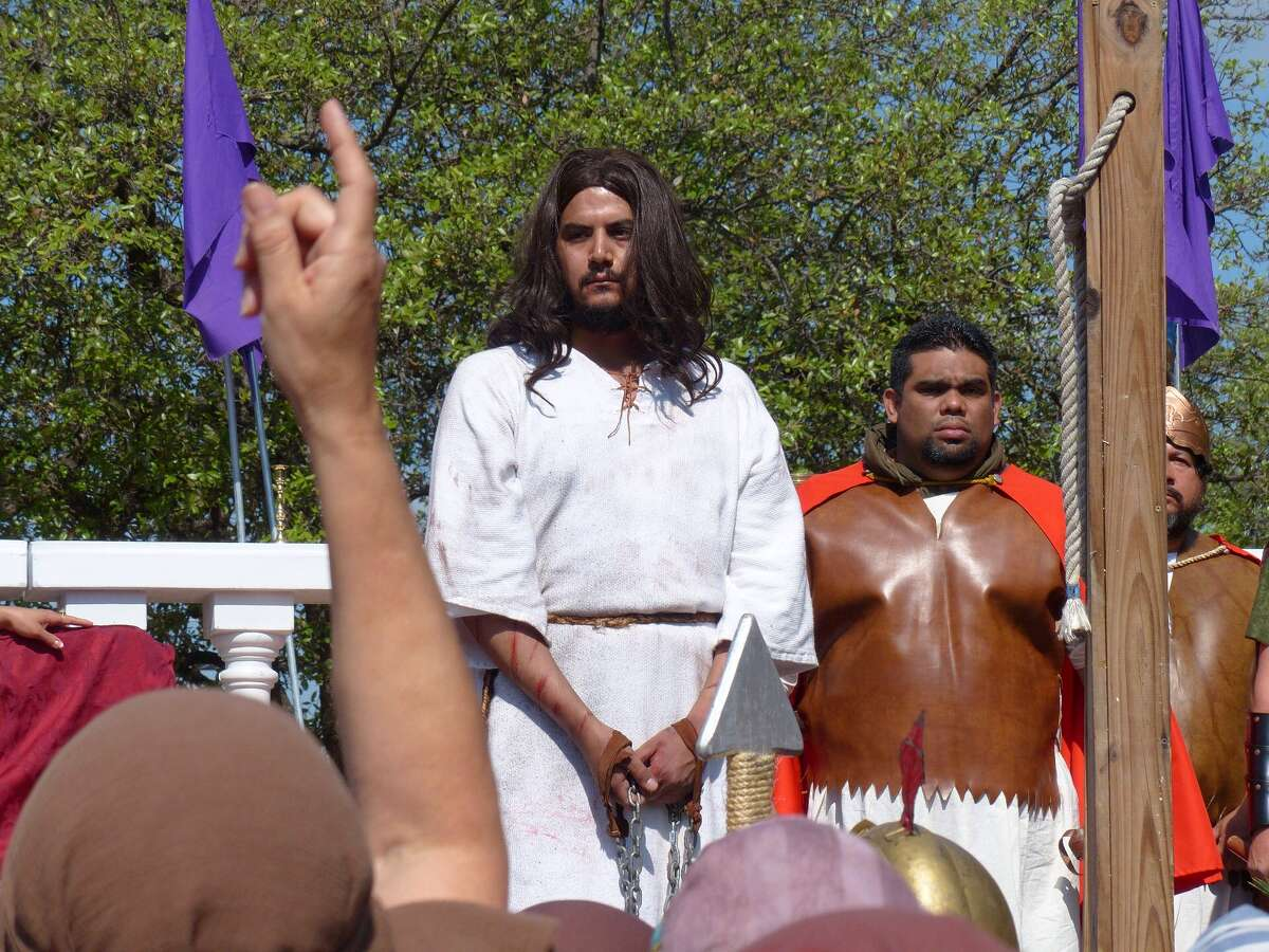 An actor playing Jesus onstage during the re-enactment of the Passion of the Christ on April 18, 2014.