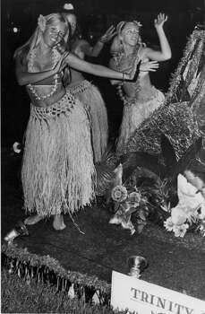 Fiesta 1968 - Trinity University's Mai Kai Group participates in the Texas Cavaliers' River Parade. Photo: Express-News, File