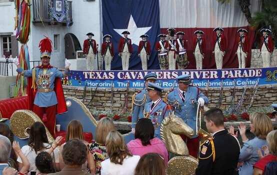 METRO -- King Antonio LXXXVII Stephen Cavender great the crowd at the Arneson Theater during the 2009 Texas Cavaliers River Parade, Monday, April 20, 2009 JERRY LARA/glara@express-news.net Photo: Jerry Lara, Express-News