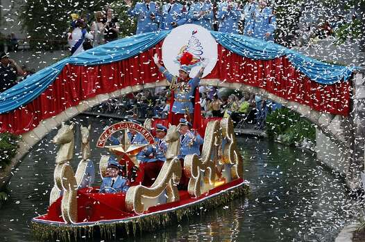 King Antonio LXXXIX Bill Mitchell and his aides enter the Arneson River Theatre during the 80th annual Texas Cavalier River Parade, Monday, April 11, 2011. JERRY LARA/glara@express-news.net Photo: Jerry Lara, Express-News