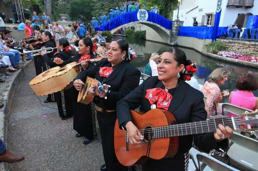 """Mariachi Las Alteñas performs before the Texas Cavaliers River Parade """"Stars on the River"""" held Monday April 22, 2013. Photo: Edward A. Ornelas, Express-News"""