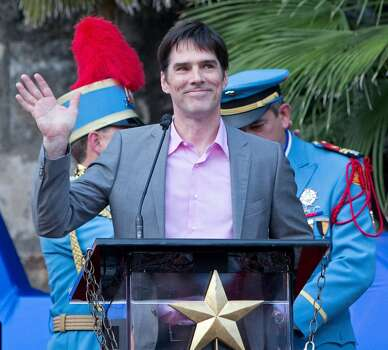 Texas Cavaliers River Parade Grand Marshal actor Thomas Gibson speaks before the parade held Monday April 22, 2013. Photo: Edward A. Ornelas, Express-News