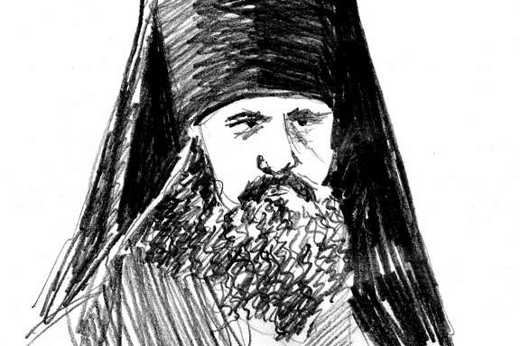 Illustration of Bishop Vladimir, lay name Vasily Sokolovsky, 1890's leader of Russian Orthodox church in San Francisco.