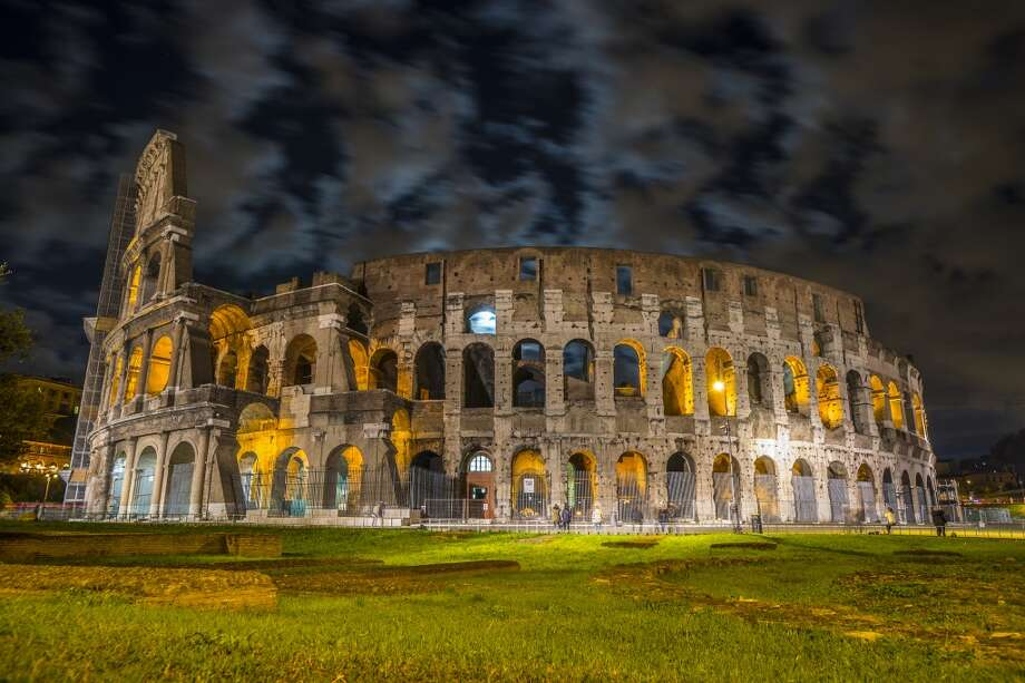 The Colosseum at night is one of the biggest attractions in Rome.