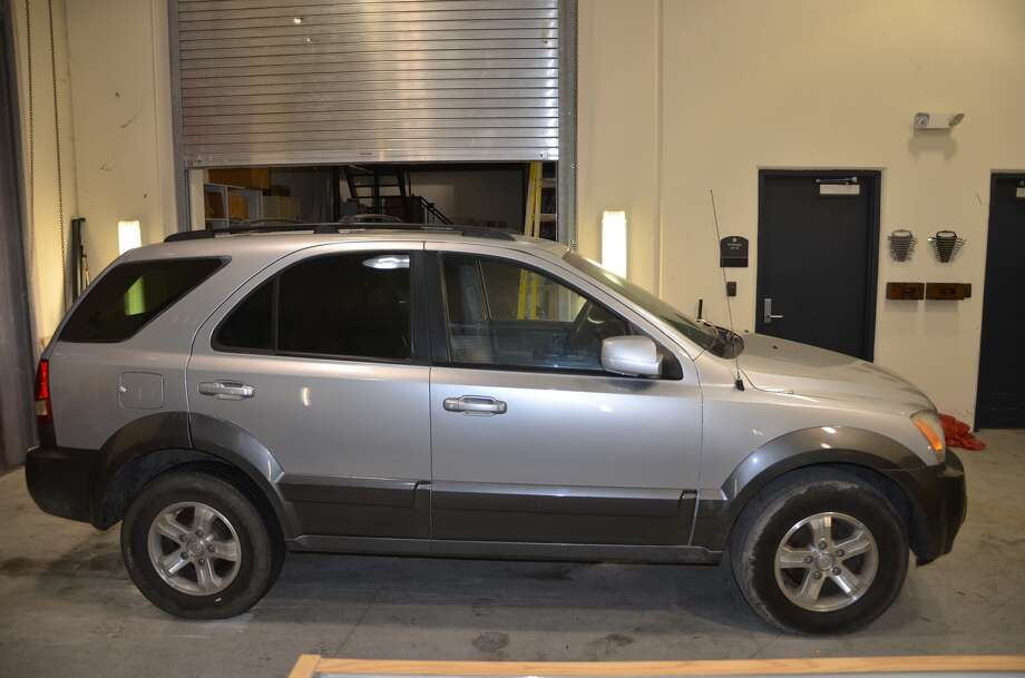 The stolen 2006 Kia Sorento said to be involved in the murder of Britney Cosby and Crystal Jackson was recovered from a vehicle storage lot this week. (Galveston County Sheriff's Office)