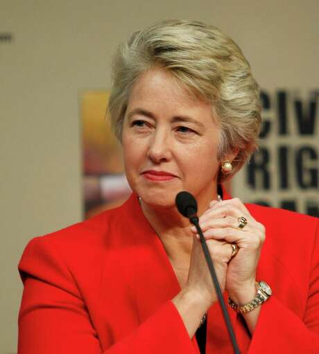 Houston Mayor Annise Parker listens as it was announced that the Houston Astros will host the 2014 Civil Rights Game against the Baltimore Orioles May 30, 2014 during a press conference at Minute Maid Park, Tuesday, Nov.19, 2013 in Houston. (Bob Levey/For The Chronicle) Photo: Bob Levey, Photographer / ©2013 Bob Levey
