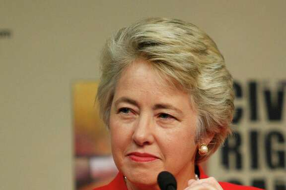 Houston Mayor Annise Parker listens as it was announced that the Houston Astros will host the 2014 Civil Rights Game against the Baltimore Orioles May 30, 2014 during a press conference at Minute Maid Park, Tuesday, Nov.19, 2013 in Houston. (Bob Levey/For The Chronicle)