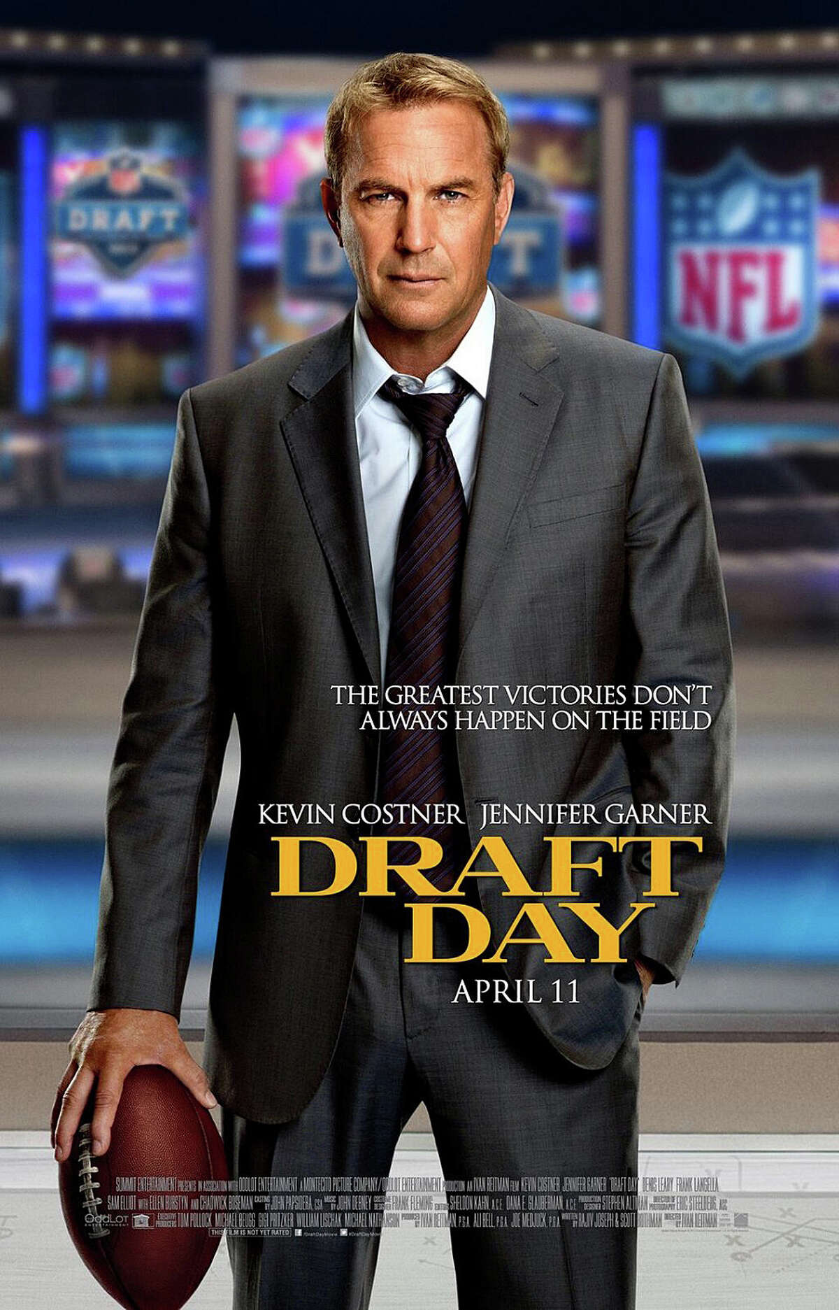 """Kevin Costner, in another of the recent roles that return him to screen prominence, stars in the football comedy-drama, """"Draft Day."""""""