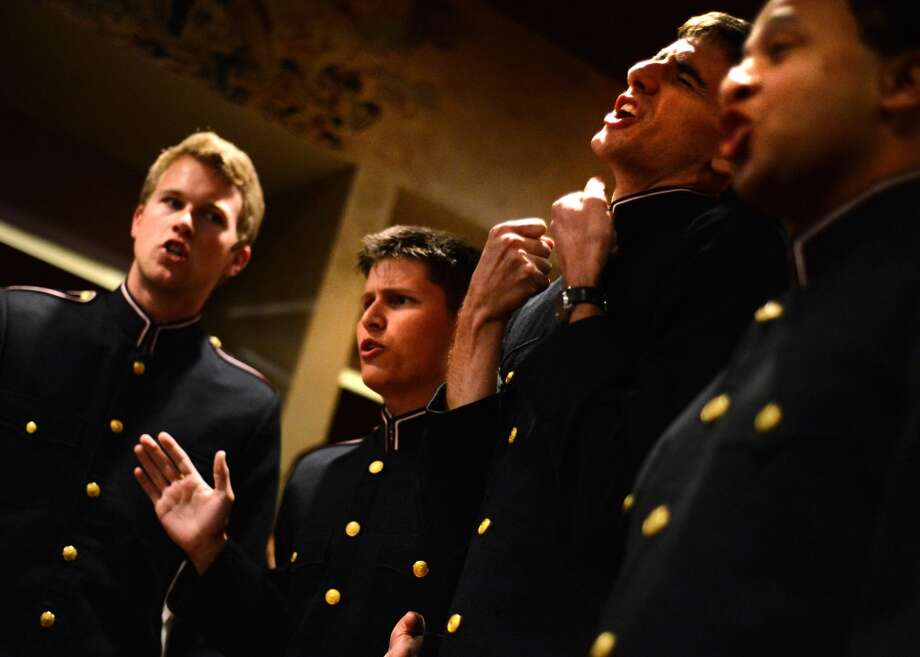The Texas A&M Singing Cadets perform for President George H. W. Bush at his pre-birthday bash Photo: Al Torres Photography