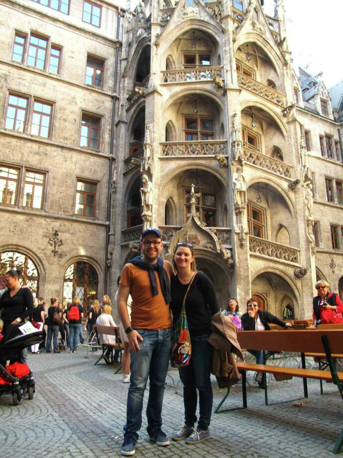 Bethel native Margo Kopec is seen here with her husband, Manuel Escrig, in Munich, Germany, in September 2013. Photo: Contributed Photo / The News-Times Contributed
