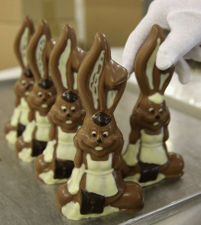 Easter chocolate bunnies line up for review in Hornow, Ger-many. A reader urges choosing candy over real rabbits. Photo: Sean Gallup / Getty Images / 2014 Getty Images