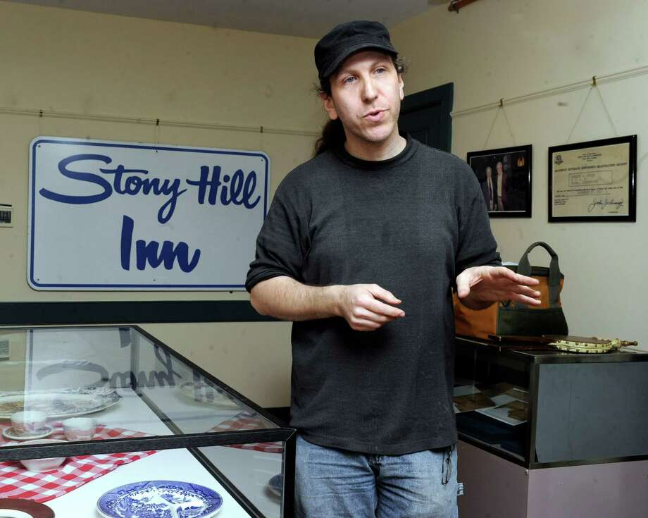 Filmmaker Marc Moorash, 38, of New Milford, Conn. talks about the film he's made about the Stony Hill Inn, a Bethel landmark that was torn down. Thursday, April 17, 2014. Photo: Carol Kaliff / The News-Times