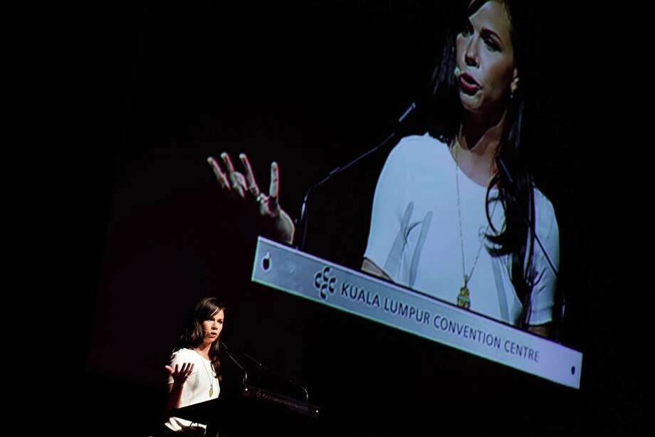 Women Deliver Conference 2013 - Day 1 Caption:KUALA LUMPUR, MALAYSIA - MAY 28: Co-Founder and CEO of Global Health Corps, Barbara Bush delivers her speech during a session at The Women Deliver Conference on May 28, 2013 in Kuala Lumpur, Malaysia. The Women Deliver 2013 Conference brings together voices from around the world to call for action to improve the health and well-being of girls and women. The WD Conference builds on commitments, partnerships, and networks mobilized at the groundbreaking Women Deliver conferences in 2007 and 2010, fighting to end the deluge of preventable deaths that kill approximately 287,000 girls and women from pregnancy-related causes every year. ( Photo: Rahman Roslan, Stringer / 2013 Getty Images