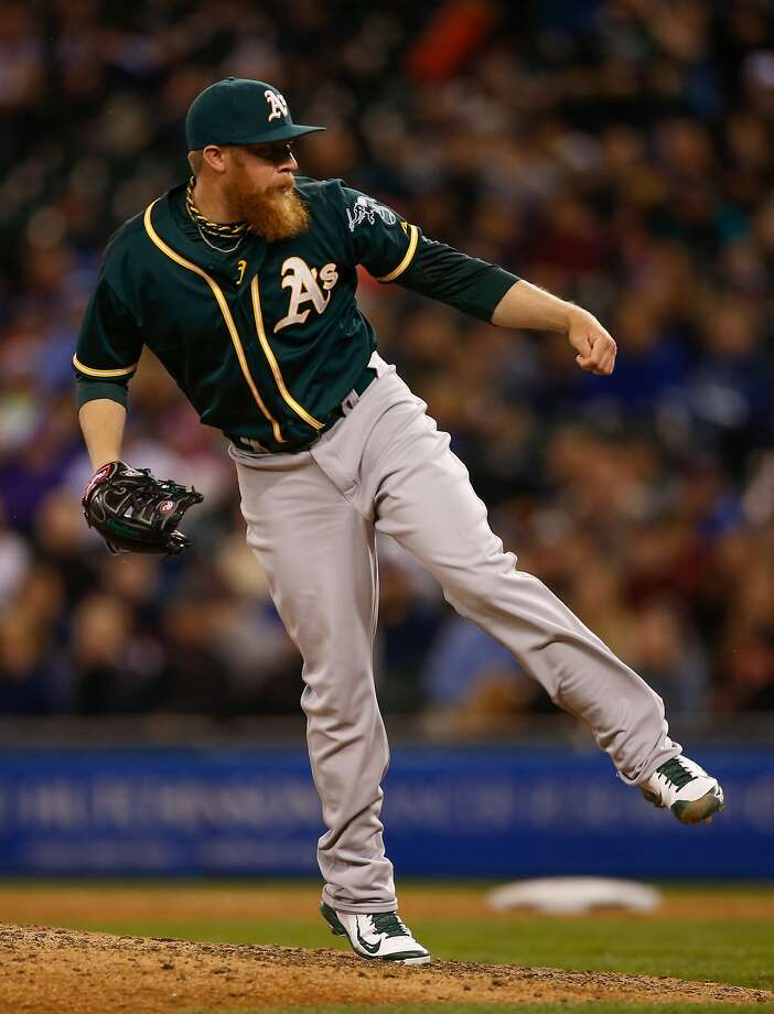 SEATTLE, WA - APRIL 12:  Relief pitcher Sean Doolittle #62 of the Oakland Athletics pitches in the ninth inning against the Seattle Mariners at Safeco Field on April 12, 2014 in Seattle, Washington. The Athletics defeated the Mariners 3-1.  (Photo by Otto Greule Jr/Getty Images) Photo: Otto Greule Jr, Getty Images