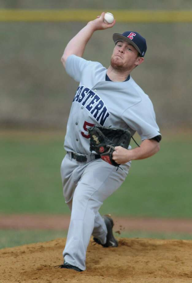 Eastern Connecticut's Brent Pelella, a Pomperaug graduate, throws a pitch in Eastern Connecticut State University's 11-0 win over Western Connecticut State University in the college baseball game at Western Connecticut's Westside Field in Danbury, Conn. Friday, April 18, 2014. Photo: Tyler Sizemore / The News-Times