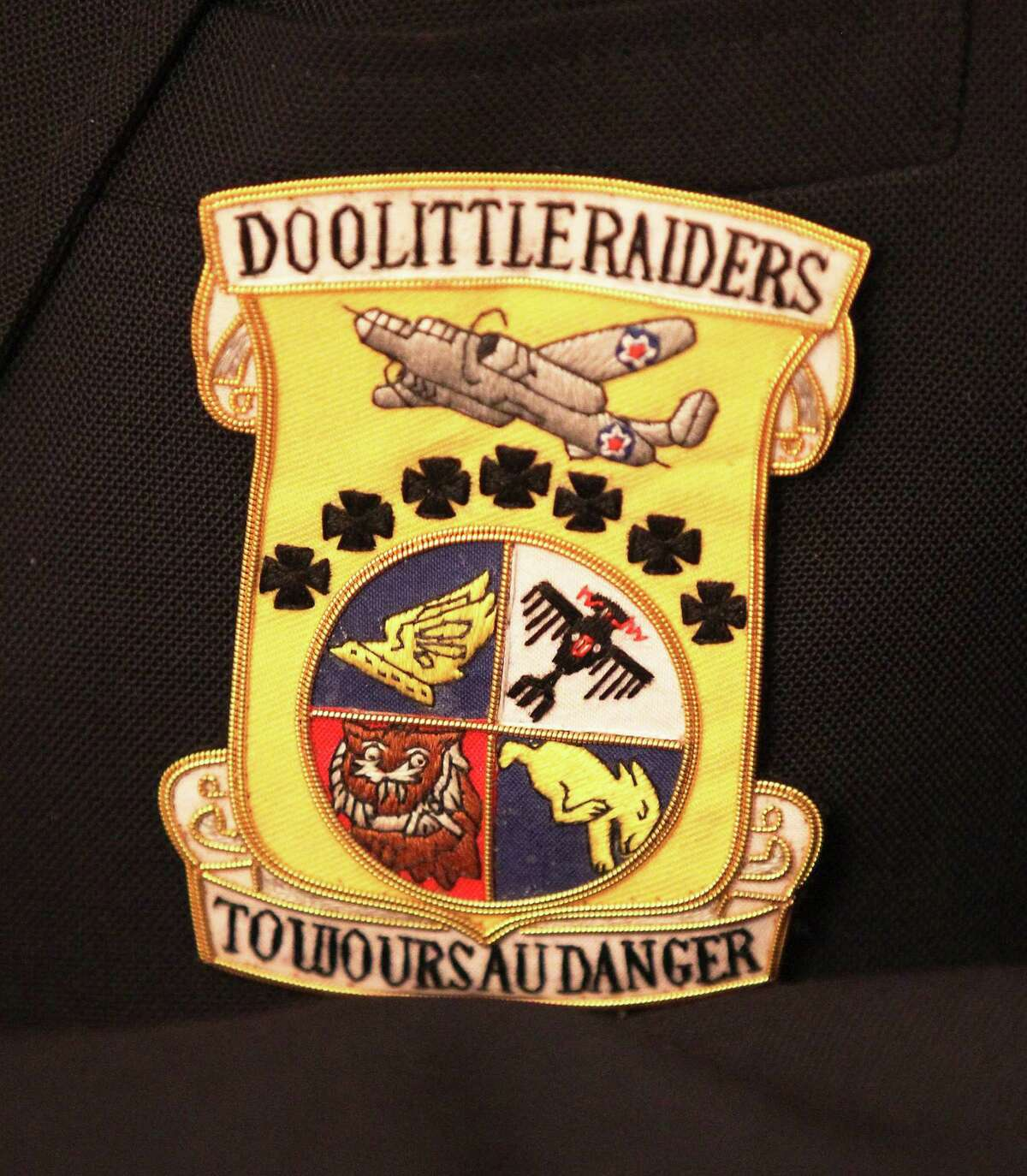 An emblem for the Doolittle Raiders worn on a jacket of retired Air Force Lt. Col. Richard