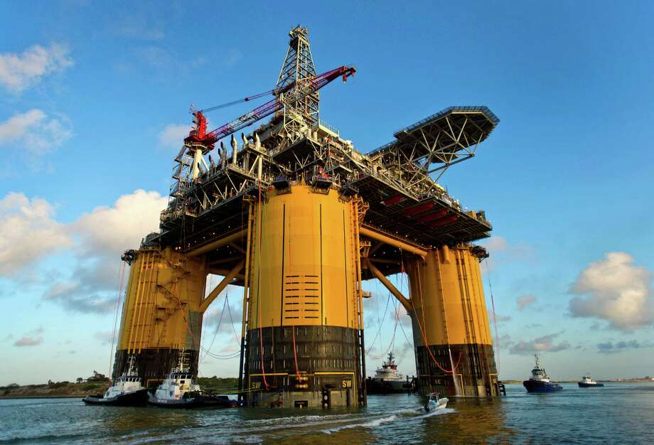 Shell's Olympus platform, shown as it was tugged into the deep-water Gulf of Mexico last year, began producing 30,000 barrels of oil per day in February. Photo: Eddie Seal / © 2013 Bloomberg Finance LP