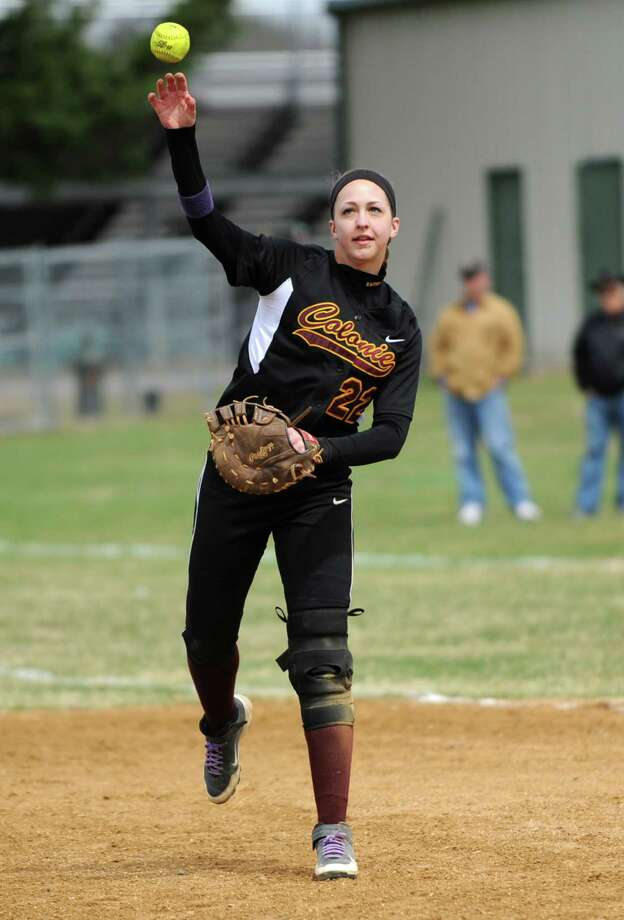 Colonie first baseman Marisa Sholtes throws the ball during a softball game against Shenendehowa Friday, April 18, 2014, at Shenendehowa High School in Clifton Park, N.Y. (Lori Van Buren / Times Union) Photo: Lori Van Buren / 00026550A
