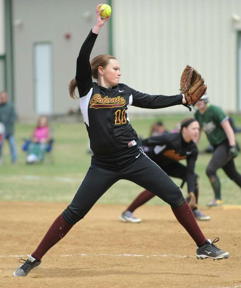 Colonie pitcher Lauren Graves throws the ball during a softball game against Shenendehowa Friday, April 18, 2014, at Shenendehowa High School in Clifton Park, N.Y. (Lori Van Buren / Times Union) Photo: Lori Van Buren / 00026550A