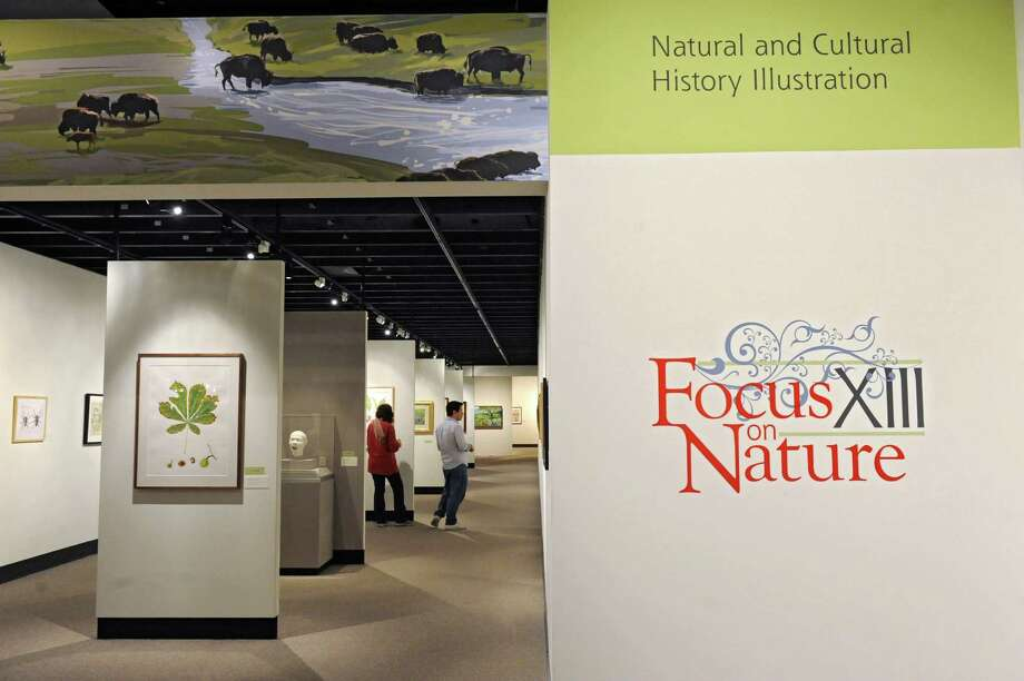 People walk through the new art exhibit titled Focus on Nature XIII: Natural and Cultural History Illustration at the New York State Museum on Friday, April 18, 2014 in Albany, N.Y. The exhibit showcases 91 natural and cultural history illustrations from 71 artists from around the world. (Lori Van Buren / Times Union) Photo: Lori Van Buren / 00026557A